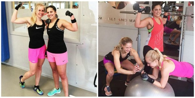 Fitness training collage