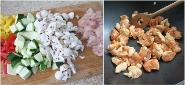 groenten en kip snijden
