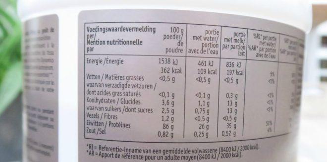 voedingswaarde eiwitpoeder