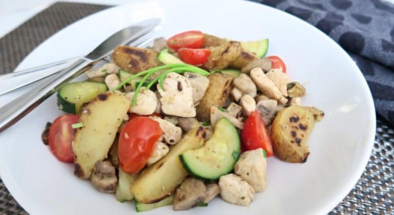 Roerbakschotel kip aardappel