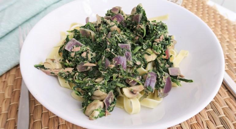 gezonde pasta met tonijn en spinazie