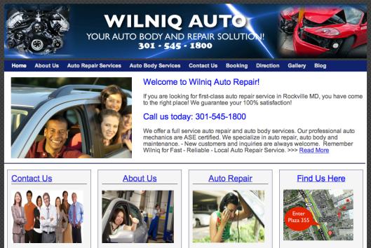 wilniq auto website image
