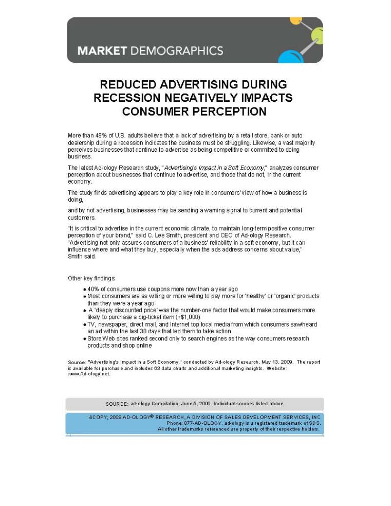 Ad-ology Report - Reduced Advertising During Recession Negatively Impacts Consumer Perception