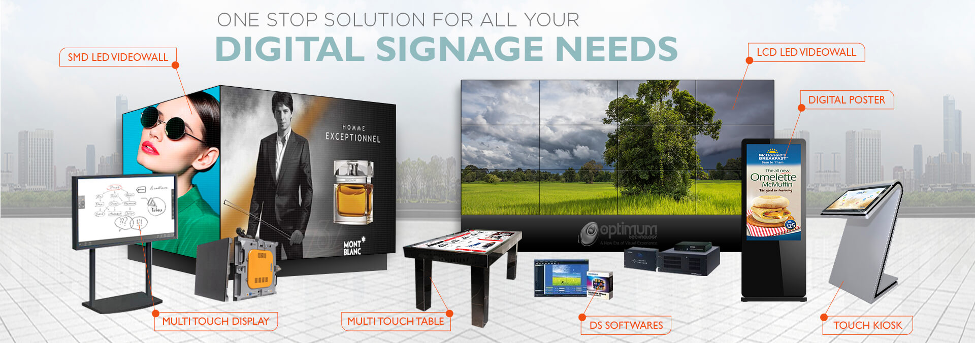 hight resolution of optimum technology digital signage and led based display solution provider in pakistan