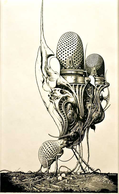 Aaron Horkey's original Genghis Tron pen and ink