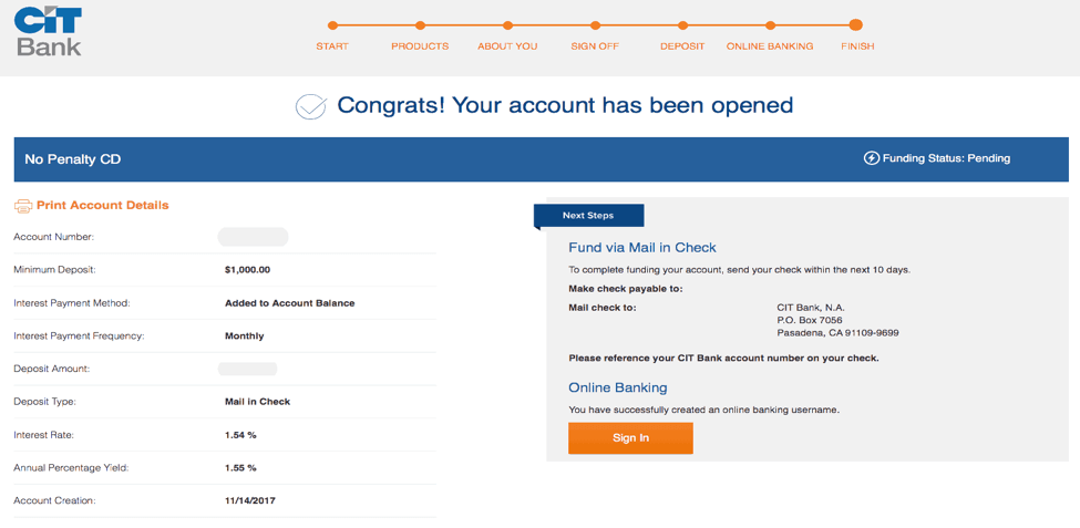 CIT Bank Account opening