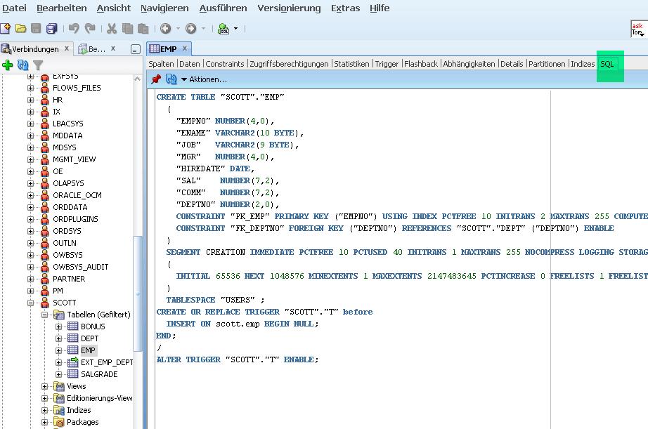 Oracle Tabelle Locken