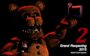 "Five Nights At Freddy's released image show casing its ""Grand Reopening"" in 2015."