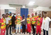 Samuel Takyi together with the Black Bombers and the President of the Ghana Olympic Committee, paid a courtesy call on Ashfoam Ghana.