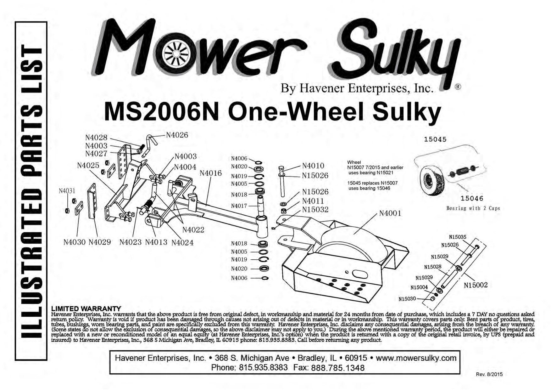 One Wheel Sulky With Lift And Latch