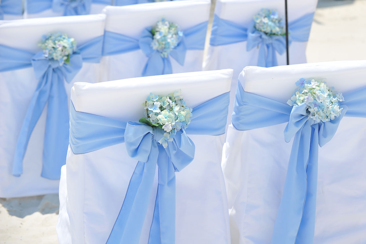 wedding chair sash pretty office chairs big day weddings beach color