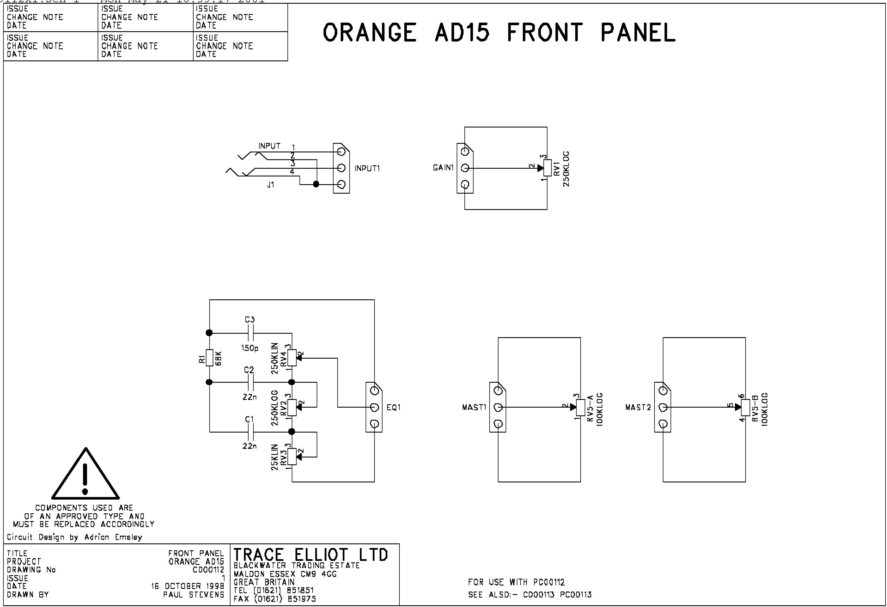 100k dual ganged stereo volume control wiring diagram for 4 wire round trailer plug replacement pot ad15 master orange amps forum