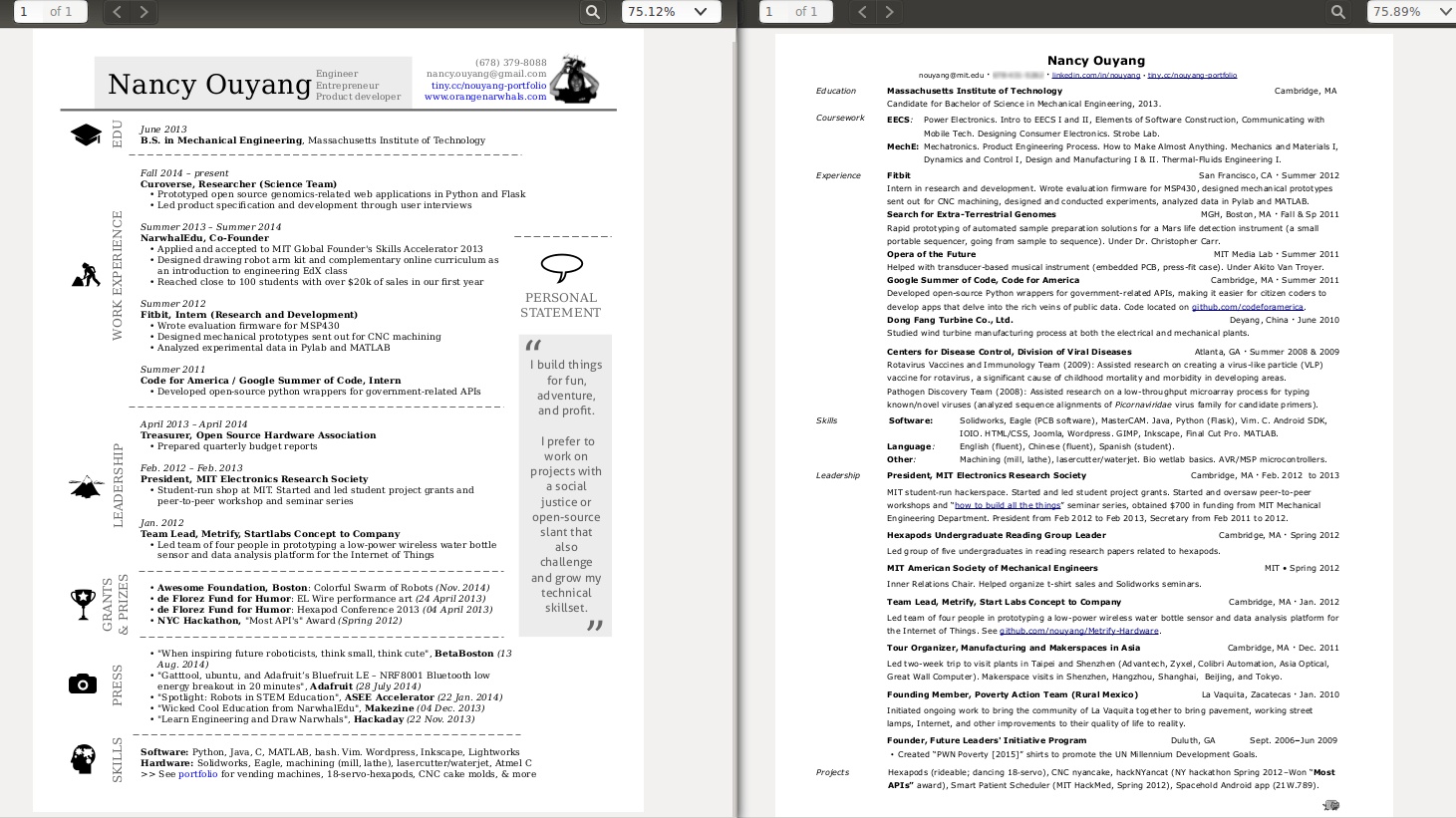 free odt resume template