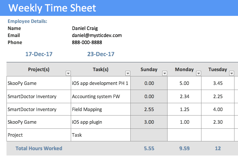 Timesheet Template | Project Management Timesheet Template | Free ...