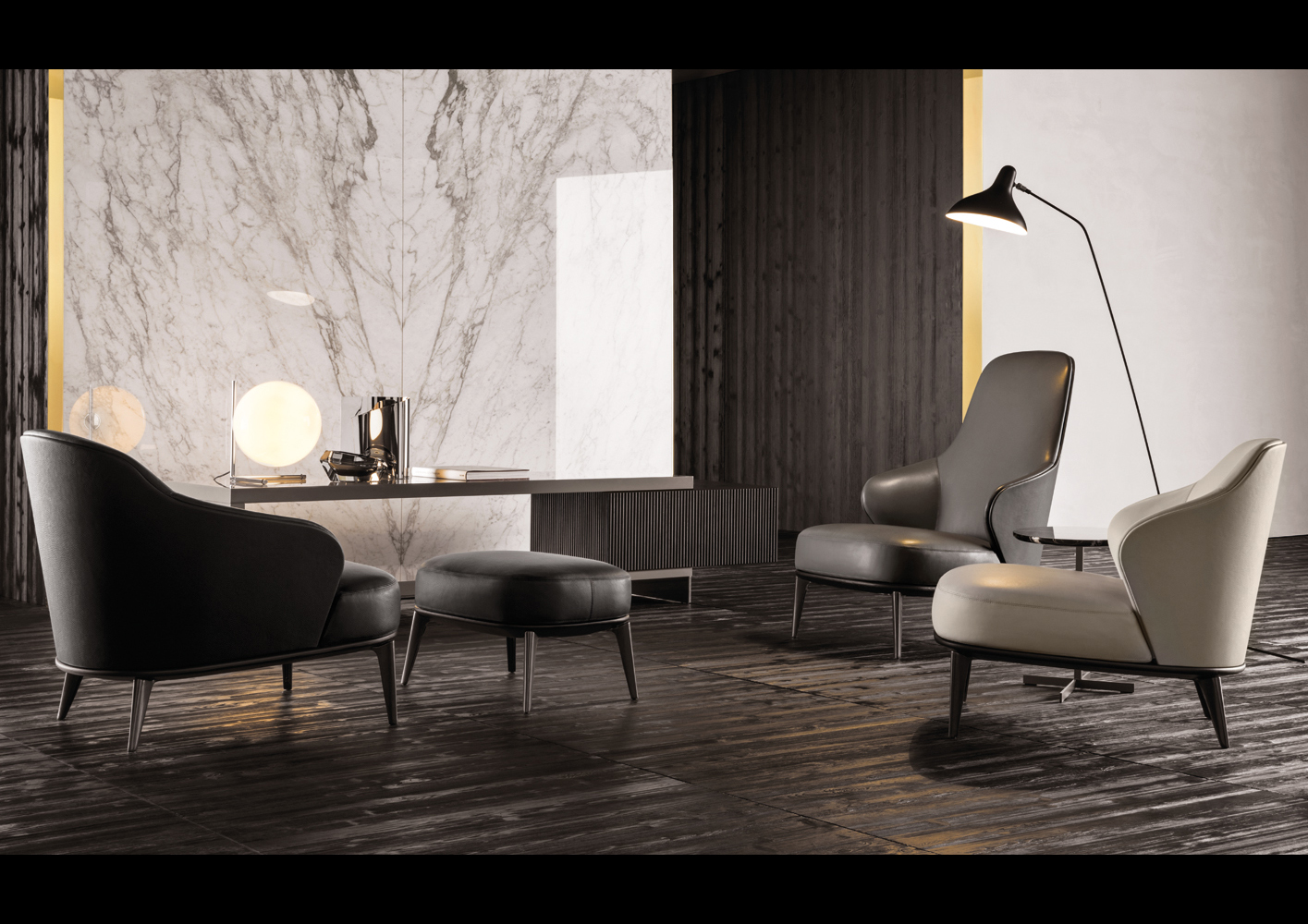 leather bergere chair and ottoman king throne leslie armchair | designed by rodolfo dordoni, minotti, orange skin