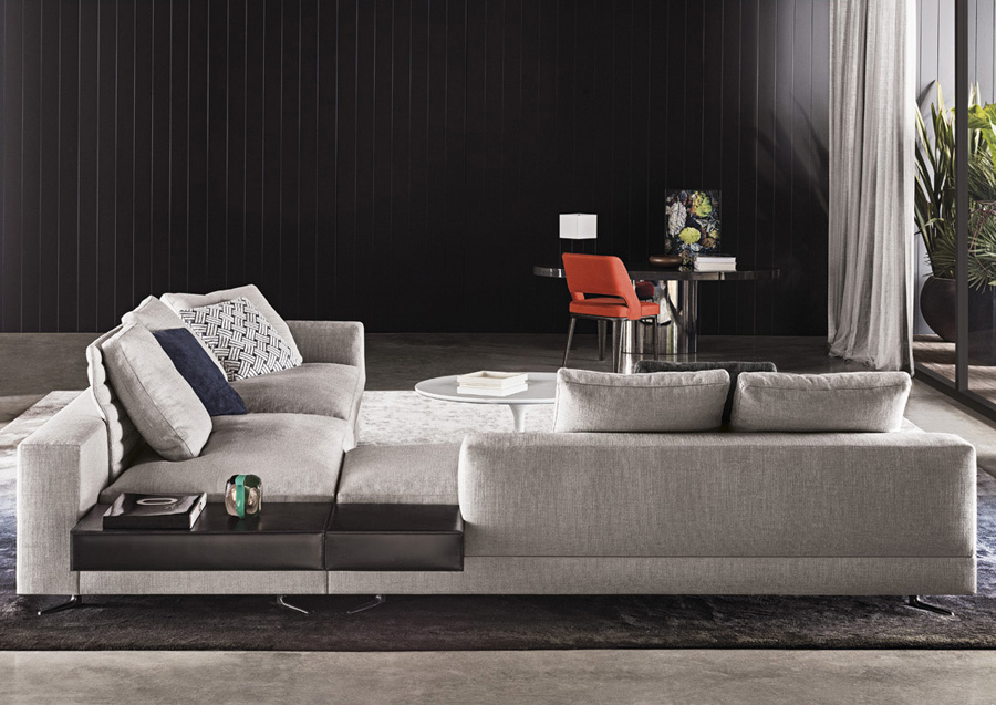 foam for sofa stainless steel and glass table white | designed by rodolfo dordoni, minotti, orange skin