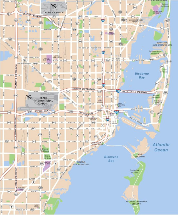 large miami maps for free download and print | high