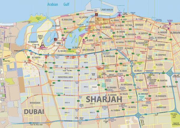 Large Sharjah Maps for Free Download and Print High