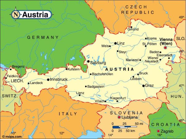 Austria Maps Printable Maps of Austria for Download