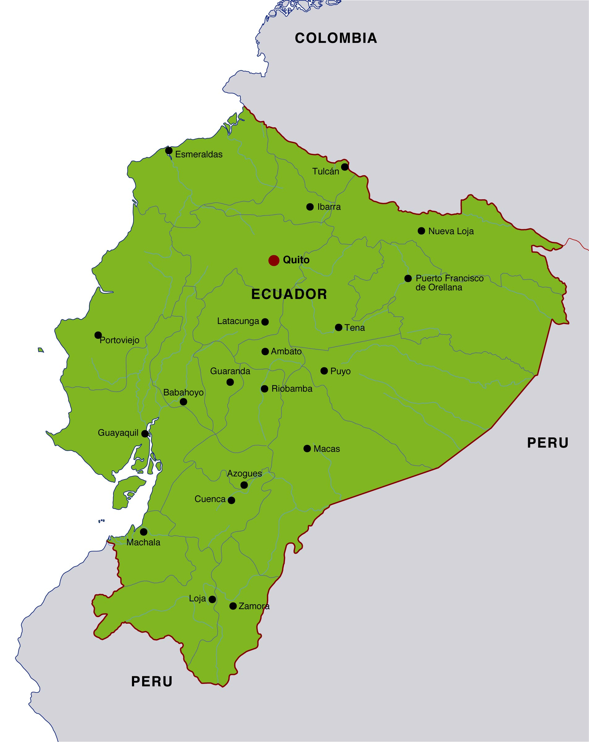 Ecuador Maps | Printable Maps of Ecuador for Download