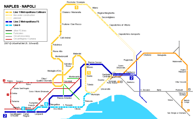 Naples Subway Map For Download Metro In Naples High