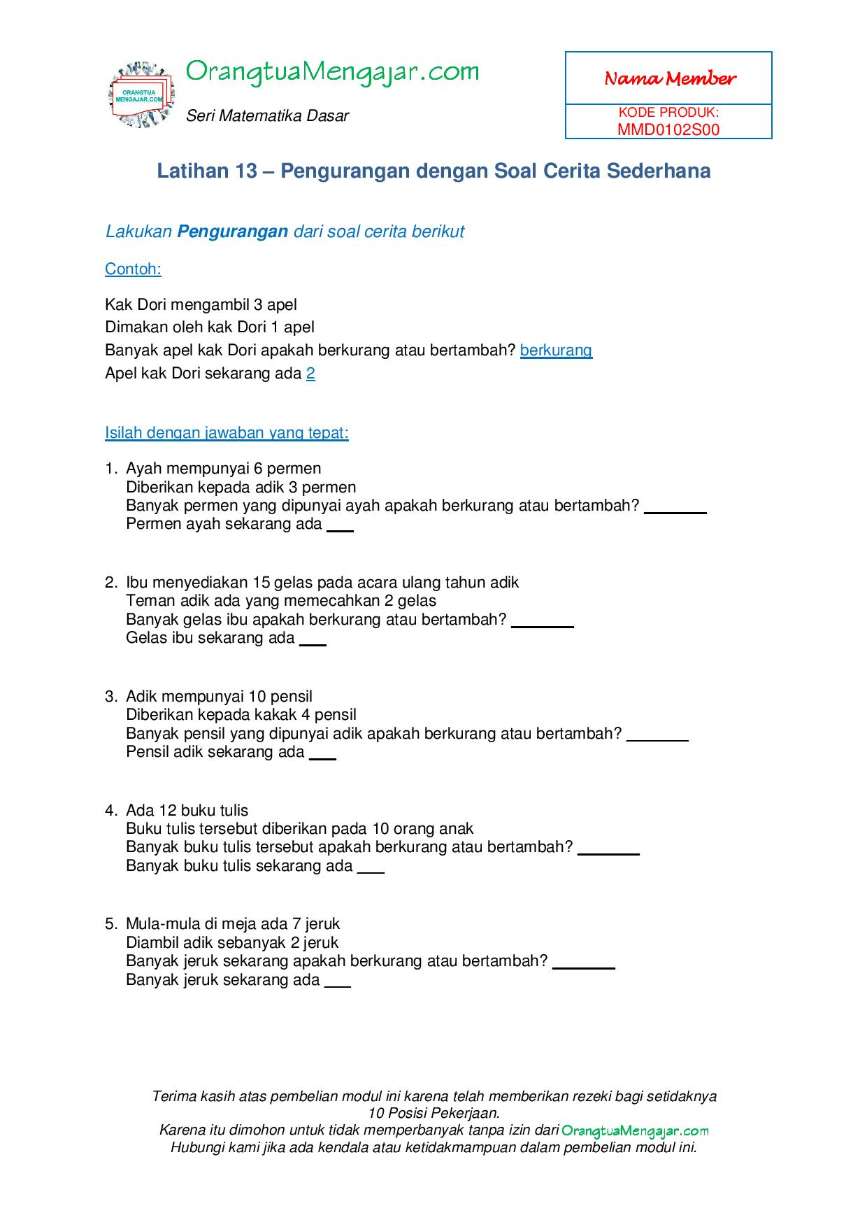 Modul Latihan Soal Matematika Penjumlahan Dan Pengurangan