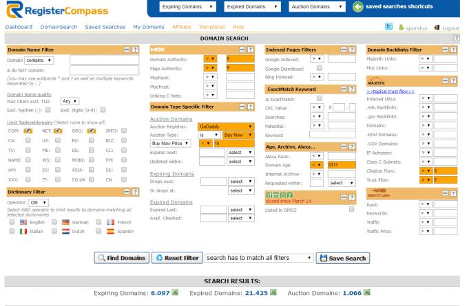 cara setting registercompass untuk cari aged domain