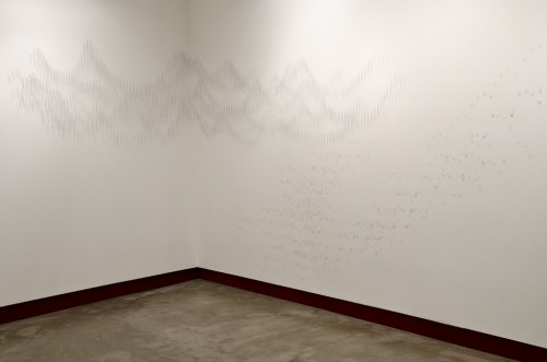 Linda Hutchins. silver and rust. silver wall drawing; 9'h x 15'w x 20'd. 2011.