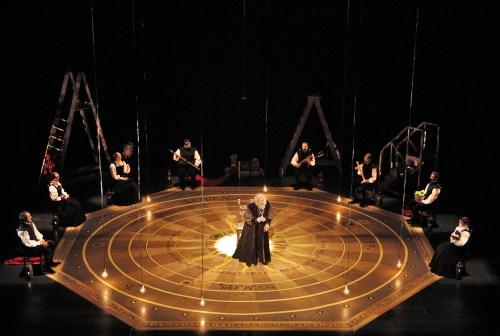 Richard Troxell as Older Galileo, at the center of the opera's universe. ©Portland Opera/Cory Weaver.