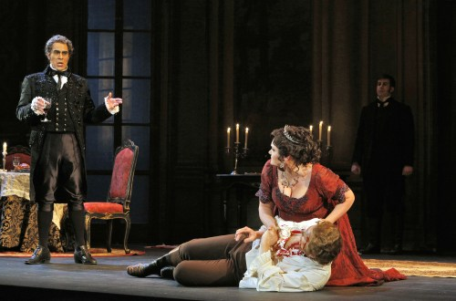 Mark Schnaible as Scarpia, Roger Honeywell as Cavaradossi, Kara Shay Thomson as Tosca. © Portland Opera / Cory Weaver