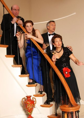 Farce descending a staircase: from top, Pierce, Calcagno, Gorham, Mahon. Photo: Lakewood Theatre.