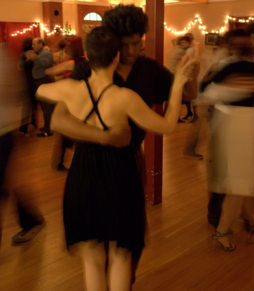 At Alex Kreb's Tango Berretin, two tango dancers share a moment at a Saturday night milonga.
