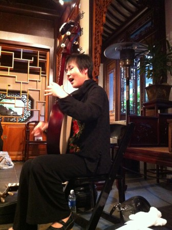 Pipa virtuosa Min Xiao-Fen sings the blues at Third Angle's Chinese Garden party Saturday.