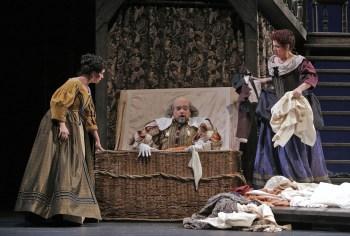 """Portland Opera's """"Falstaff"""":  Caitlin Mathes as Meg Page, Eduardo Chama as Falstaff, Angela Niederloh as Dame Quickly;.© Portland Opera / Cory Weaver"""