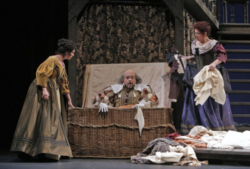 "Sexual politics in ""Falstaff"":  Caitlin Mathes as Meg Page, Eduardo Chama as Falstaff, Angela Niederloh as Dame Quickly;.© Portland Opera / Cory Weaver"
