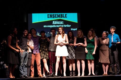 "Cast and crew of ""Ablaze"" celebrate en masse. Win Goodbody   portlandtheatrescene.com"