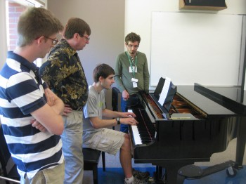 Composers Focus Groups: Dr. Stephen Hartke with Ian Guthrie, Tom Morrison, and Noah Jenkins.