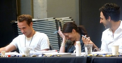 Drew Harper, Renata Friedman, Amir Arison read through Threesome by Yussef El Guindi. Photo by Sarah Mitchell