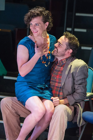 Bartholomew (Matthew Kerrigan), a page in drag, cozies up to Christopher Sly (Nathan Dunkin) at the Portland Shakespeare Project. Photo: David Kinder