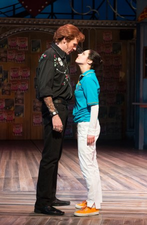 At OSF, Kate (Nell Geisslinger) and Petruchio (Ted Deasy) size each other up. Photo: Jenny Graham