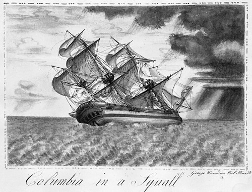 """""Columbia in a Squall,"" George Davidson, 1793, Oregon Historical Society"