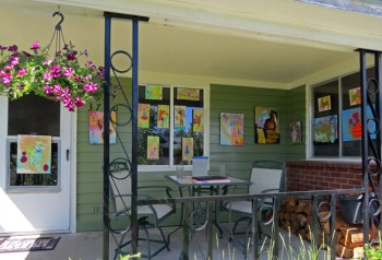 Hillery Lay's art on her front porch/Patrick Collier