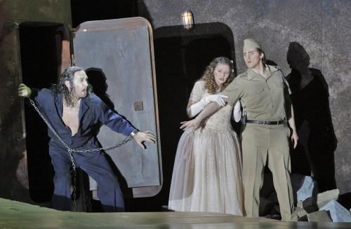From l-r: David Pittsinger as Jokanaan (John the Baptist),  Kelly Cae Hogan as Salome, Ric Furman as Narraboth © Cory Weaver /  Portland Opera