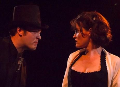 Mr. Hyde (Heath Koerschgen) holds Elizabeth (Karen Wennstrom) in his evil thrall.