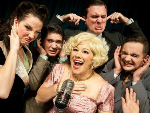 """Megan Carver, Branden McFarland, Jessica Geffen, Ian Armstrong, Adam Syron in """"It's a (Somewhat) Wonderful Life."""" Photo: Casey Campbell."""