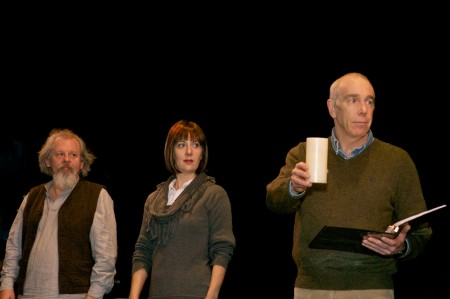 "Chris Porter, Adrienne Flagg, and David Bodin in Claire Willett's ""Dear Galileo"" at Artists Repertory Theatre. Fertile Ground 2012"