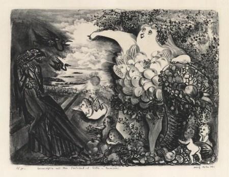 "Adolf Dehn, ""Cornucopia and Her Pstilential Sister – Famine,"" lithograph, 1949. Portland Art Museum, gift of Mrs. Adolf Dehn."