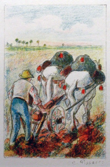 "Camille Pissarro, ""La Cherrue (The Plow),"" color lithograph, 1901. Portland Art Museum, bequest of Charles Henry Leavitt."