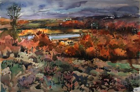 "Henk Pander watercolors and Mel Katz wall works are at Laura Russo Gallery this month. This is Pander's ""Lily Lake, Steens Mountain"""