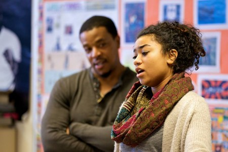 """Grimm"" star Russell Hornsby works with contestant Sekai Edwards. Photo: August Wilson Red Door Project"